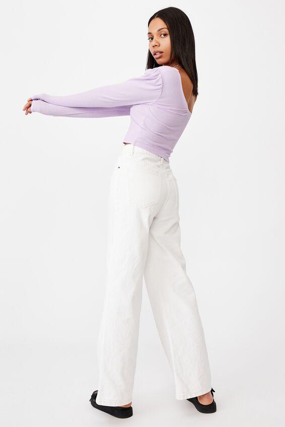 Pamela Puff Long Sleeve Top, FROSTY LILAC