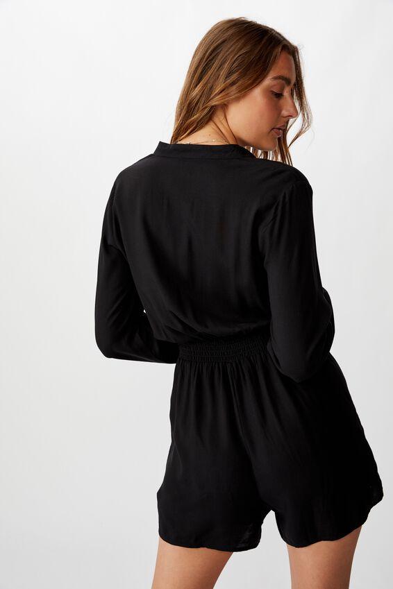 Woven Luella Long Sleeve Playsuit, BLACK