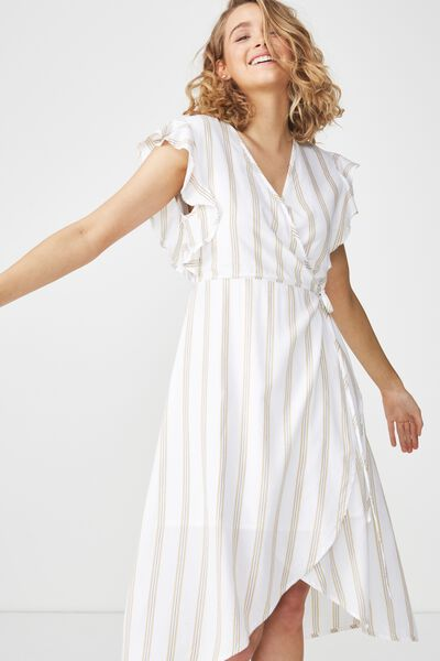 Woven Winnie Wrap Hi Low Dress, RIVIERIA STRIPE CURRY