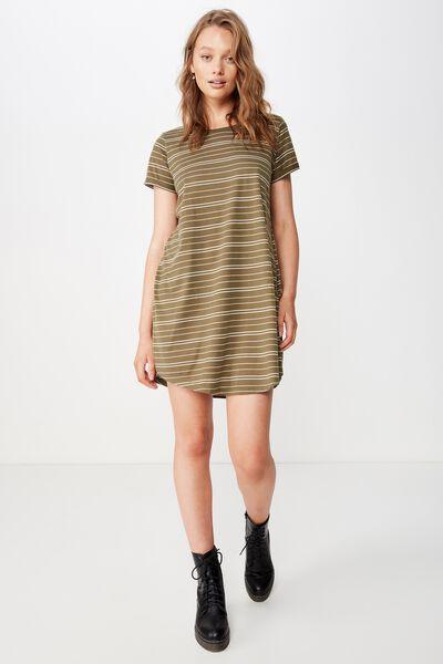 Tina Tshirt Dress 2, GRACIE STRIPE BURNT OLIVE
