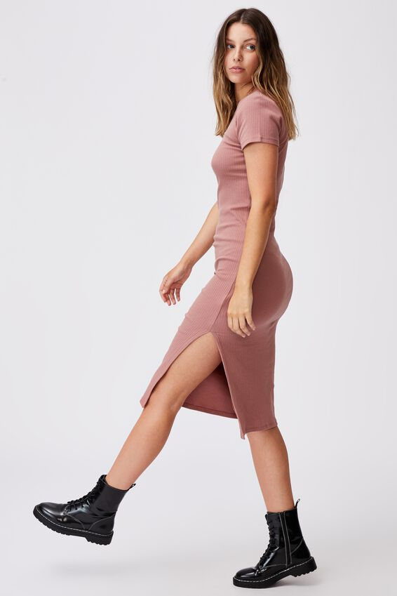 Essential Split Short Sleeve Midi Dress, ROSE TAUPE
