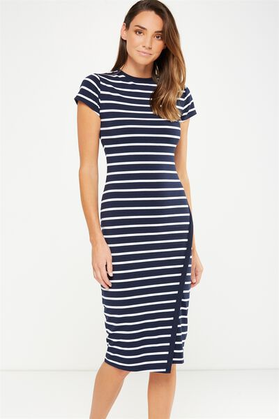 Anthea Short Sleeve Midi Dress, NAVY/WHITE MARIA STRIPE