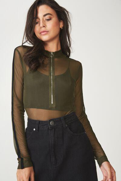 A Mesh Long Sleeve Zipper Bodysuit, UTILITY KHAKI/BLACK
