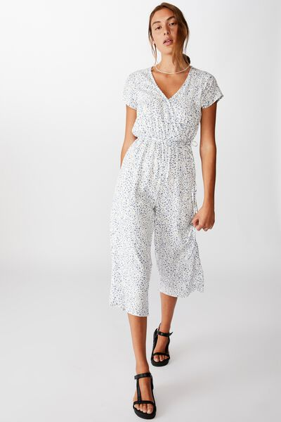 Woven Jamie Short Sleeve Jumpsuit, PIPER ANIMAL INFINITY