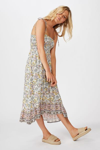 Woven Hayley Hi- Low Strappy Midi Dress, SUNDAY FLORAL BORDER PINK FROZE