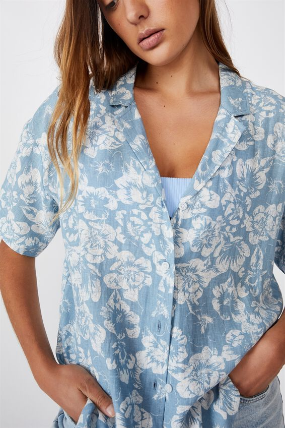Oversize Resort Shirt, MAGNOLIA CHAMBRAY