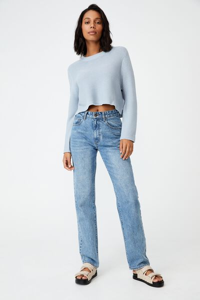 Cotton Cropped Pullover, BLUE FROST