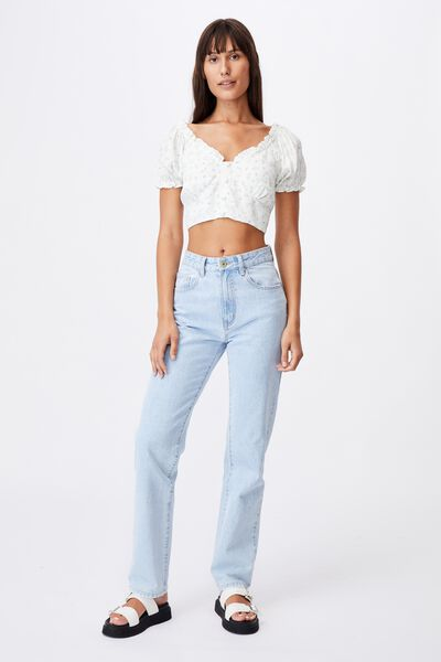 Tesse Cropped Tea Blouse Petite, RILEY DITSY WHITE