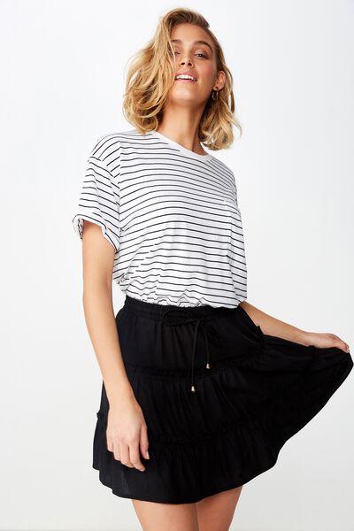 Woven Chloe Mini Skirt, BLACK