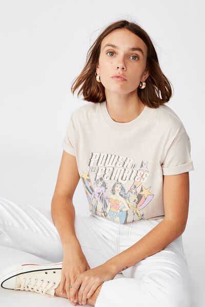 Classic Tv Movie T Shirt, LCN WB WONDER WOMAN POWER/SILVER GREY