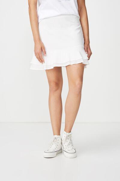 Woven Alana Mini Skirt, WHITE