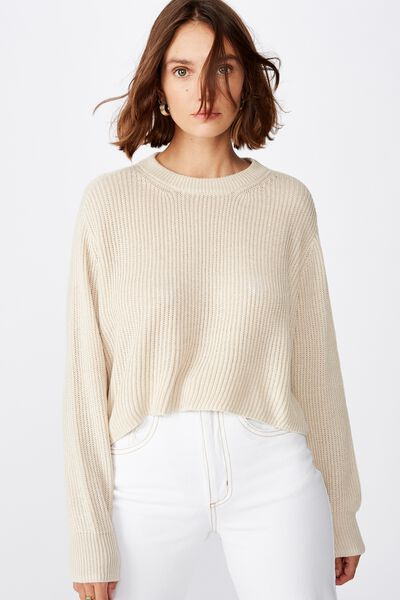 Archy Cropped 2 Pullover, OATMEAL MARLE