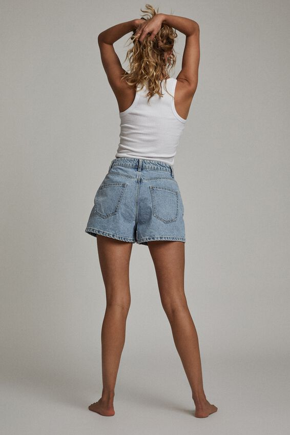 High Mom Denim Short, LENNOX BLUE