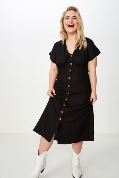 Curve Button Front Midi Dress, BLACK