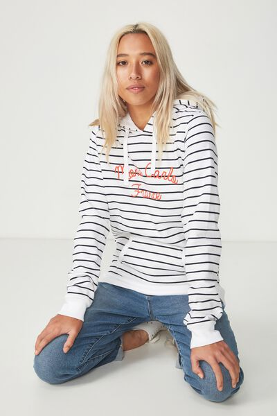 Delevingne Graphic Hoodie, MONTE CARLO WHITE/MOONLIGHT STRIPE