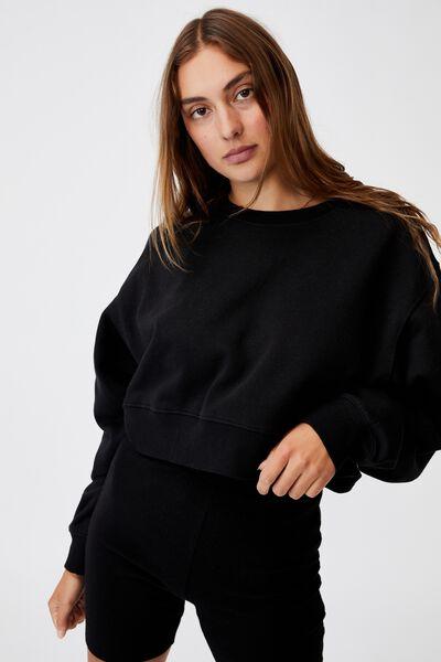Classic Cropped Sweatshirt, BLACK