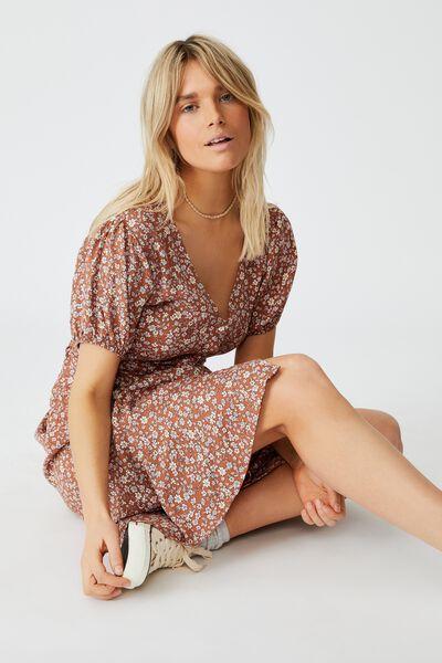 Woven Clara Button Through Midi Dress, KAYLA DITSY MID BROWN