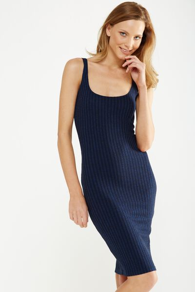 Kimi Scooped Bodycon Midi Dress, SPACE NAVY/BLACK TWIST