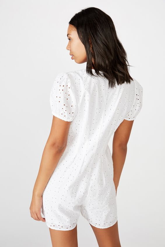 Woven Claudia Short Sleeve Playsuit, WHITE BROIDERE