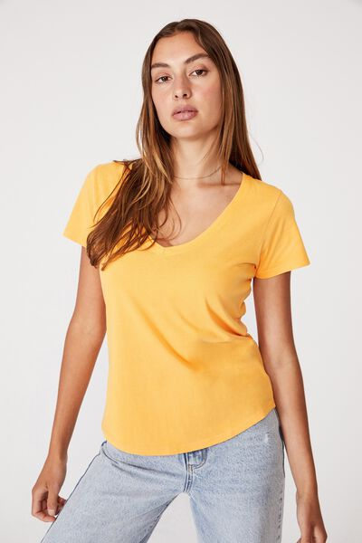 The One Fitted V Tee, WASHED SUMMER MANGO