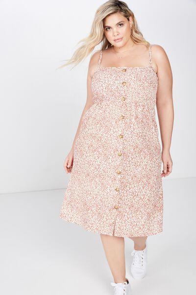 Curve Shirred Bodice Button Front Midi Dress, ISSY DITSY CANNOLI CREAM