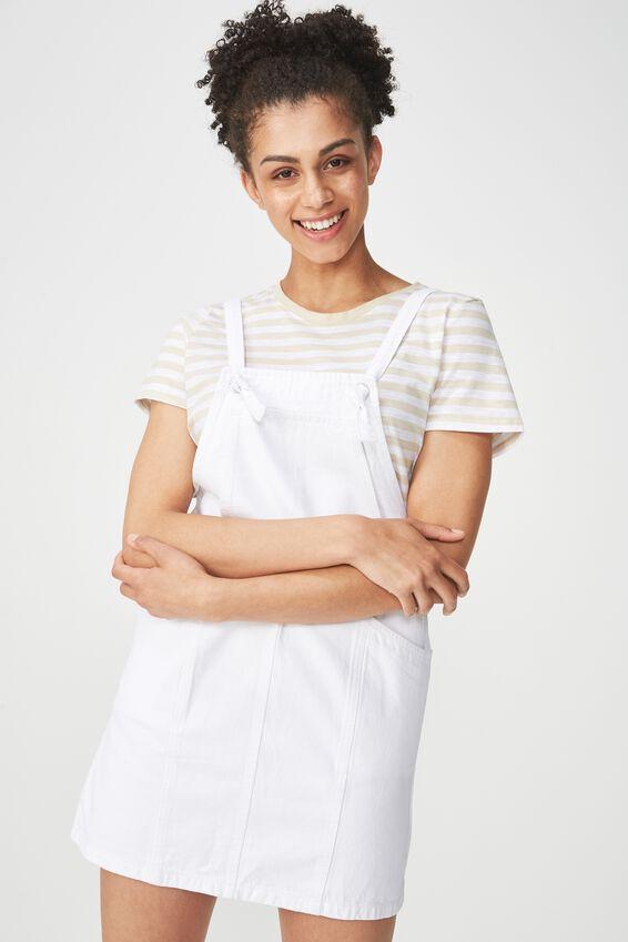 Denim Pinafore Dress, WHITE KNOT