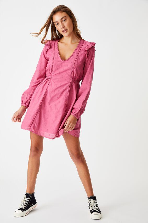 Woven Goldie V Neck Mini Dress, ROSE WINE