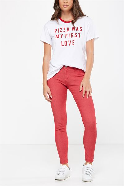 Mid Rise Jegging, FADED RED