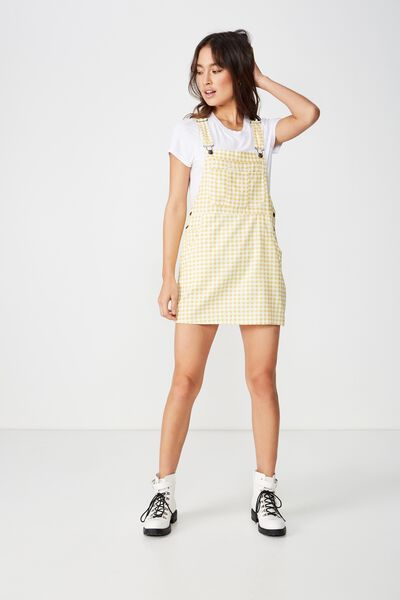 Woven Charlotte Pinafore, CARMEN GINGHAM CREAM GOLD