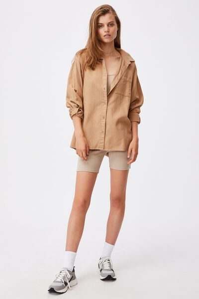 Boyfriend Shirt, ALMOND
