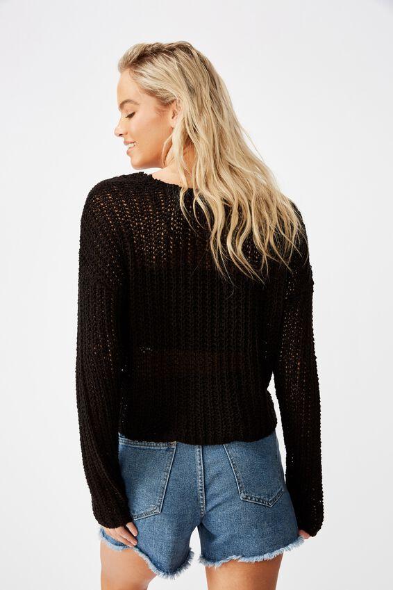 Splice V Neck Pullover, BLACK