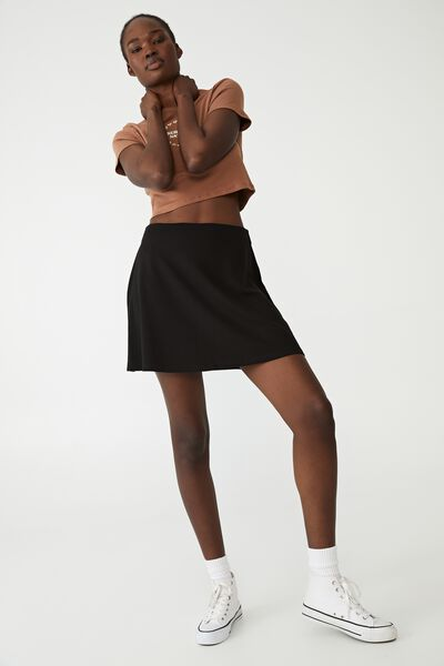 Petite Tilly Fit And Flare Ponte Skirt, BLACK