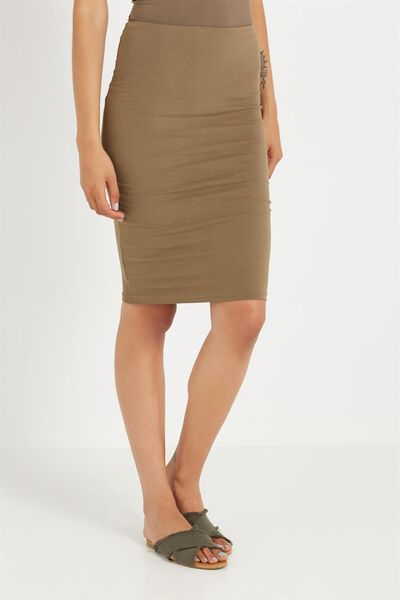Midi Tube Skirt, AUTUMN GREEN