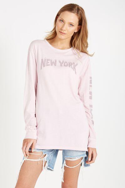 Debbie Long Sleeve Graphic Boyfriend Tee, NEW YORK/LIGHT LAVENDER