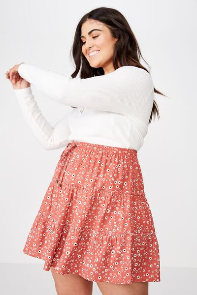 Curve Woven Chloe Mini Skirt, EMMA DAISY MINERAL RED