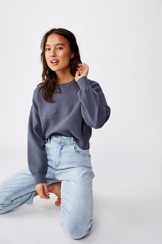 Chloe Crew Luxe Pullover, GRISAILLE