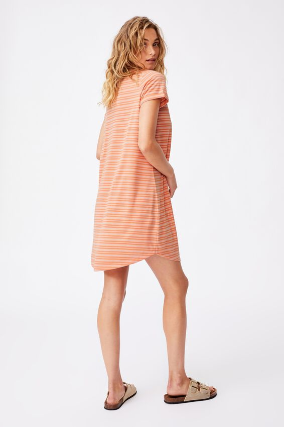 Tina Tshirt Dress 2, BIANCA STRIPE MELON