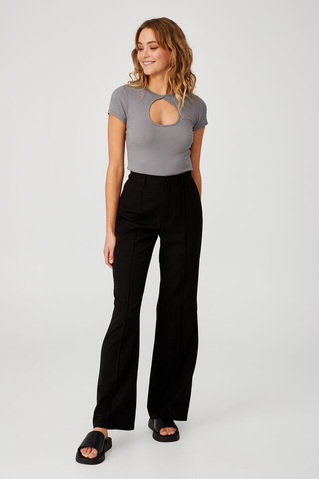 Camilla Cut Out Short Sleeve Top, STEEL GREY