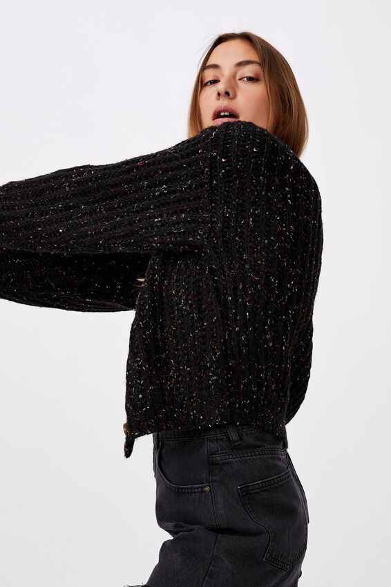 Multi Yarn Cropped Cardi, BLACK MULTI