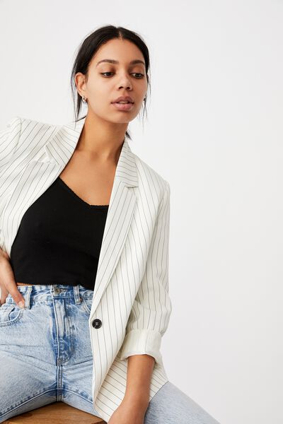 Ultimate Casual Blazer, WHITE/BLACK STRIPE