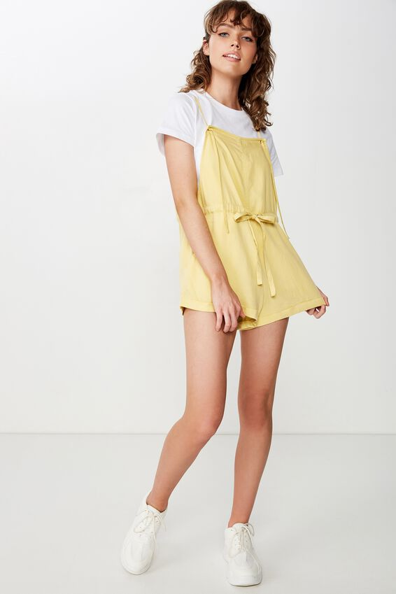 Woven Val Strappy Playsuit, WASHED JOJOBA