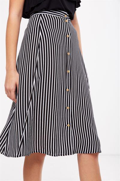 Woven Ryder Midi Skirt, MILY STRIPE WHITE/BLACK