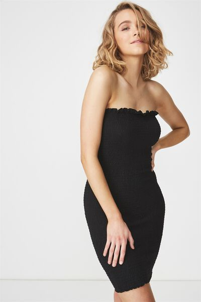Shelby Shirred Boob Tube Dress, BLACK
