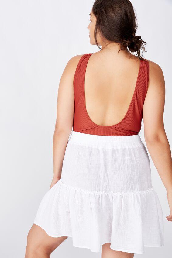 Curve Ruffle Tiered Beach Skirt, WHITE