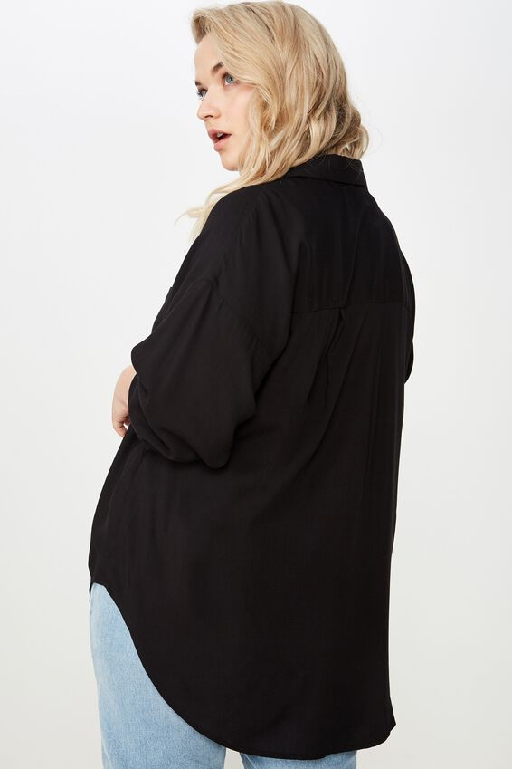 Curve Relaxed Shirt, BLACK