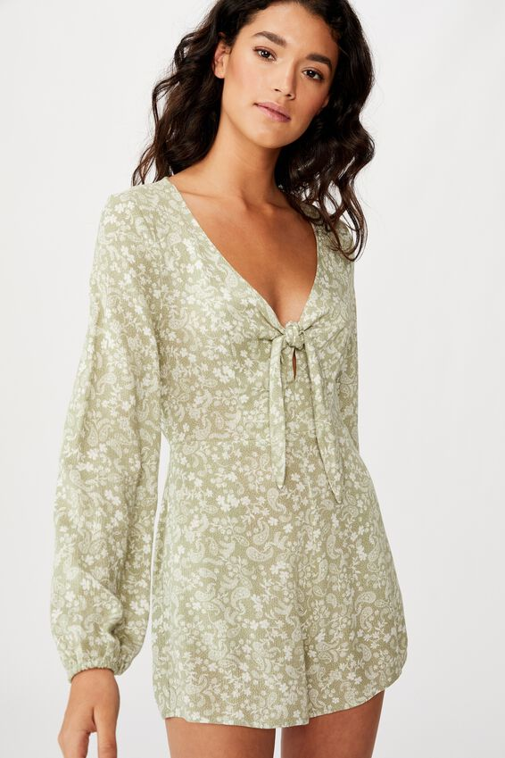 Woven Alena Tie Front Long Sleeve Playsuit, BLAIR FLORAL PAISLEY TEA