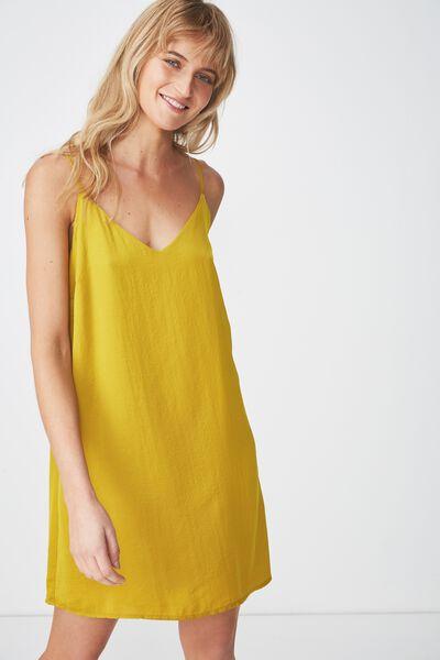Woven Margot Slip Dress, GOLDEN PALM - S