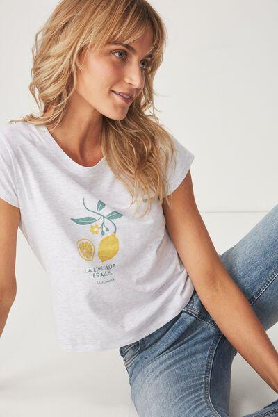 Tbar Rachael Graphic Tee Shirt, LIMONADE/SILVER MARLE