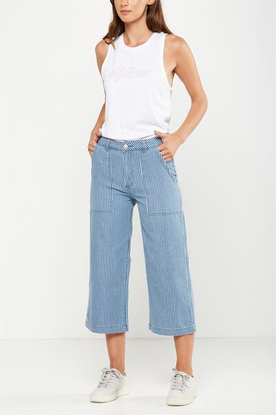 Mid Rise Wide Leg Crop Jean, RAILROAD STRIPE