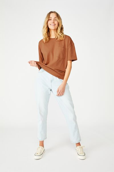 The One Boyfriend Crew Tee, WASHED DUSTY BROWN